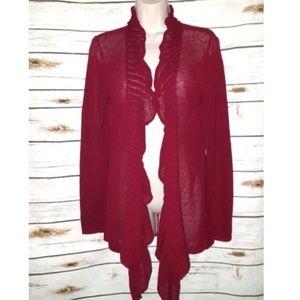 Eileen Fisher Mesh Sweater Cardigan Ruffled